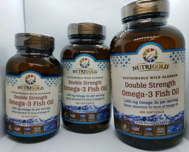 CHOOSE ONE: NutriGold Double Strength Omega-3 Fish Oil 60, 120, OR 180 Softgels