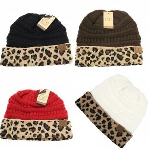 1d0acf8ef47 C.C Beanie Tail Hat Messy Bun Ponytail Cap Hat with Leopard Pattern ...