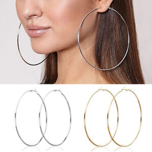 Women-Statement-Gold-Silver-Big-Round-Drop-Dangle-Hoop-Earrings-Jewelry-Gift