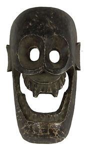 Maschera-Citipati-Testata-Da-Morto-Legno-Dipinto-Himalaya-Animista-Sciamano