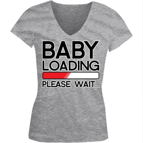 Baby Loading Please Wait Pregnant Progress Bar Computer Juniors V-Neck T-Shirt