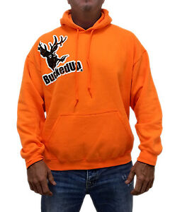 bucked up distressed hoodie safety orange with white logo ebay