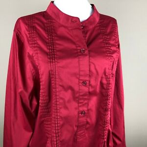 Denim-amp-Co-Women-039-s-3-4-Sleeve-Tunic-Top-Blouse-Plus-Size-1X-Red-Button-Down