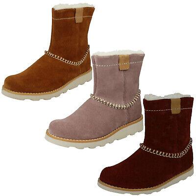 BNIB Clarks Girls Crown Piper Pink Suede Air Spring Boots