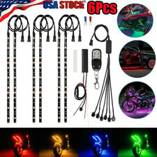 6x Motorcycle Led Lights Wireless Remote 18 Color Neon Glow Light Strips Kit New