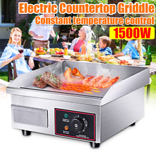 1500w Electric Countertop Griddle Flat Top Commercial Restaurant Grill Bbq Const
