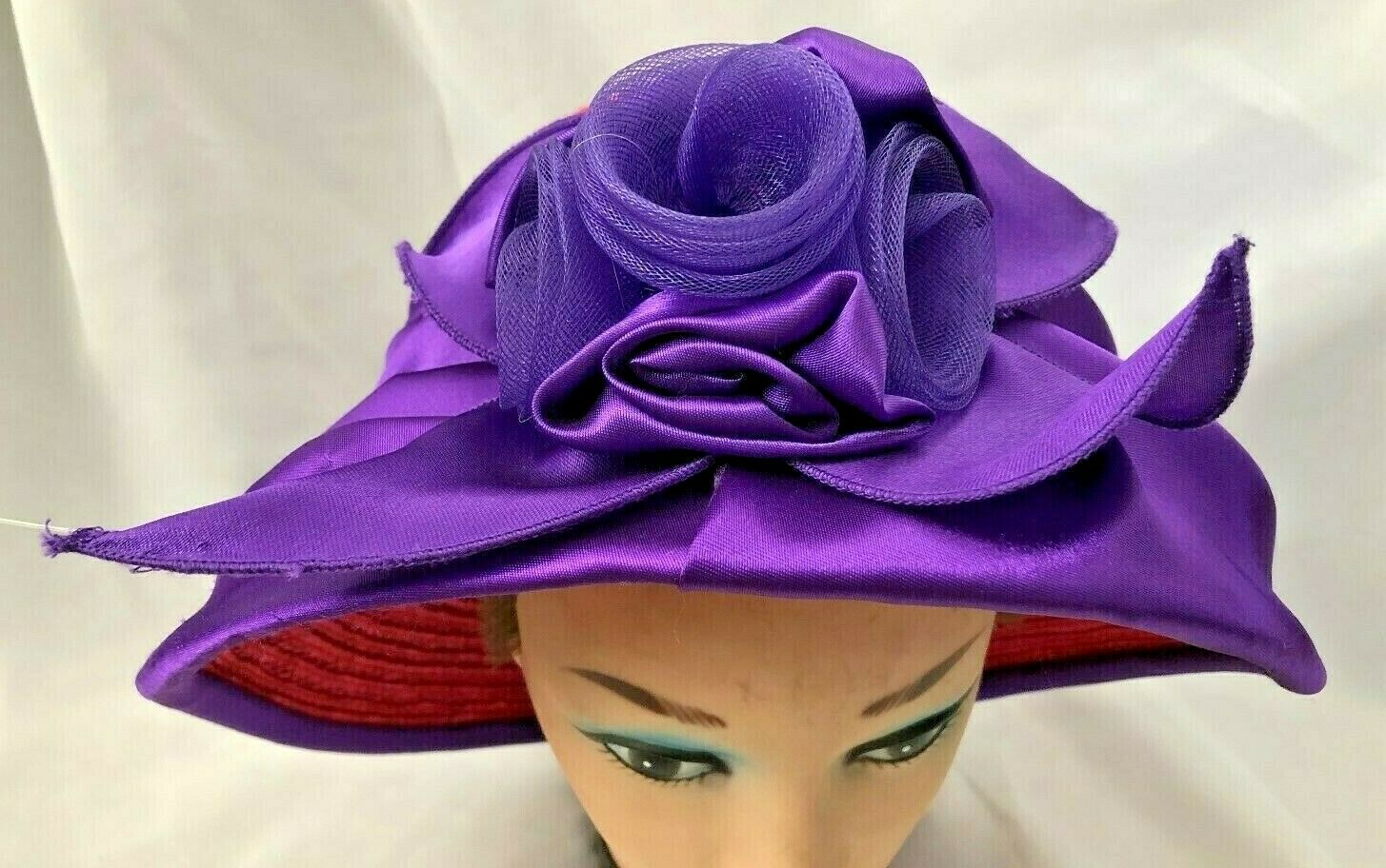 """Red Size 23"""" Straw Hat Cap with Purple Satin Flow… - image 1"""