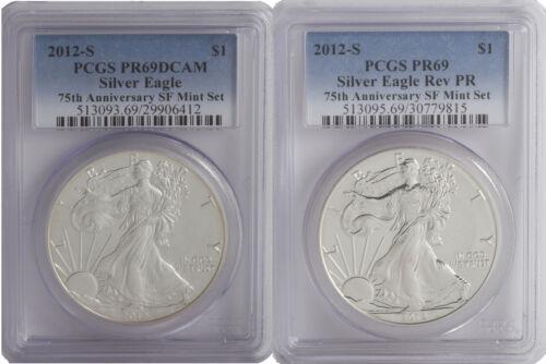 2012-S PCGS PR69 2 PC Proof Silver Eagle Set Blue Label DCAM /& Rev PR 75 Anni