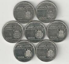 7 DIFFERENT 10 CENT COINS from ARUBA (1999, 2000, 2001, 2002, 2003, 2004 & 2005)