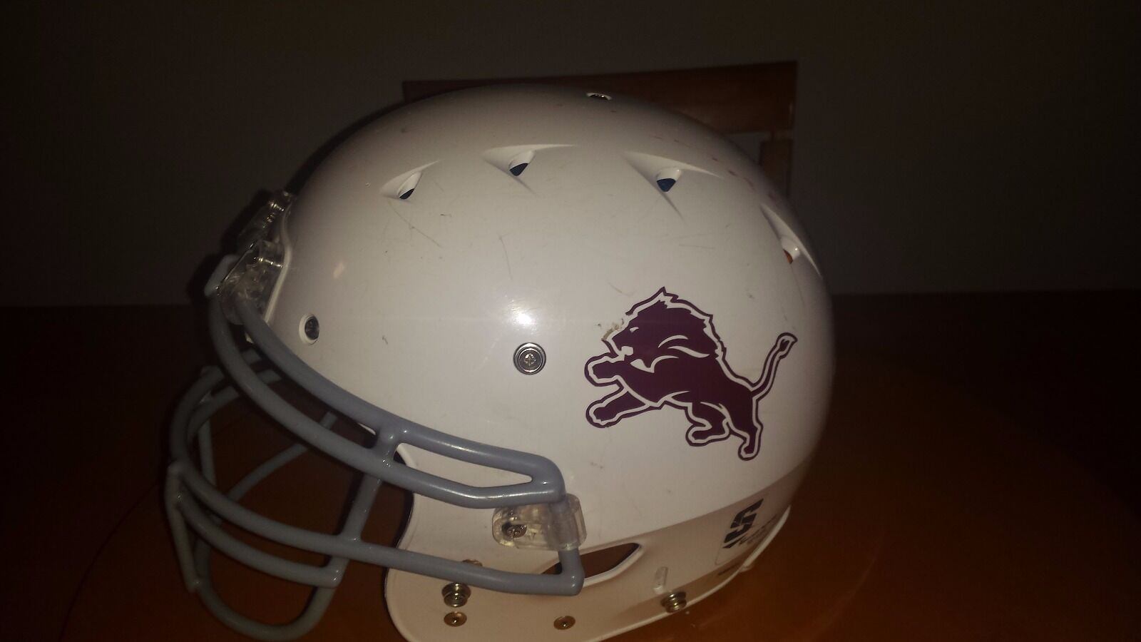 A white football helmet Size small