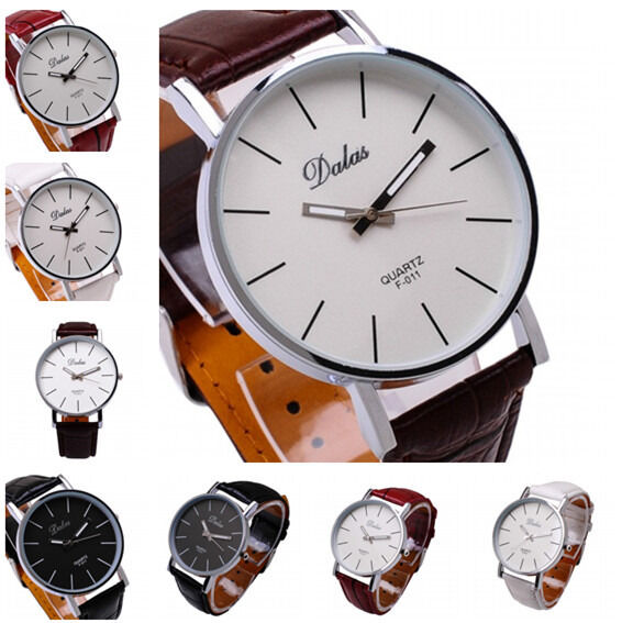 Luxury Men's Analog Quartz Wrist Watch Fashion Watches Leather Stainless Steel