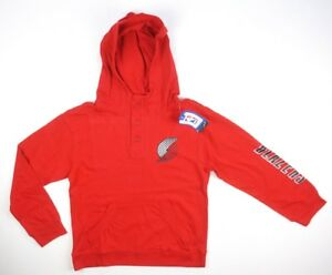 NEW-MAJESTIC-BOYS-NBA-PORTLAND-TRAIL-BLAZERS-RED-HOODED-HENLEY-HOODIE-SHIRT