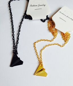 Love-One-Direction-1D-Harry-Styles-Paper-Plane-Necklace-BLACK-GOLD-BRONZE-Bag