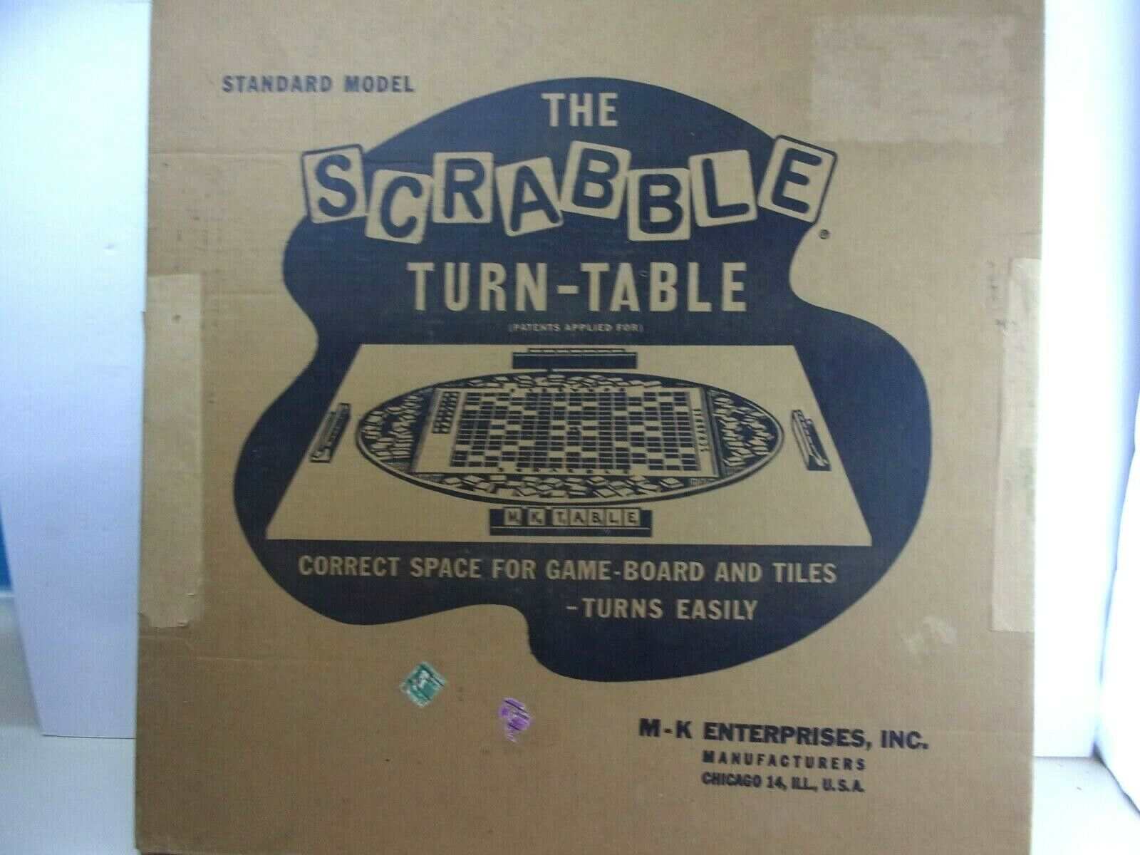 RARE early M-K Enterprises le Scrabble Turn-Table de brevets appliqués pour