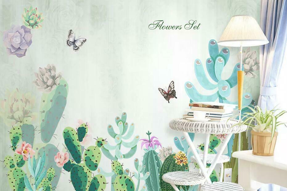 3D Cactus Plant N1694 Wallpaper Wall Mural Removable Self-adhesive Sticker Amy