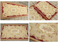 VINTAGE FRENCH Aubusson Needlepoint Area Rug Home Decor Carpet WOOL HANDMADE!