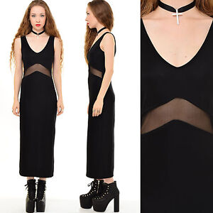75bc13bc00 Vintage 90s BLACK Bodycon SHEER MESH Cutout Goth Grunge Cocktail ...