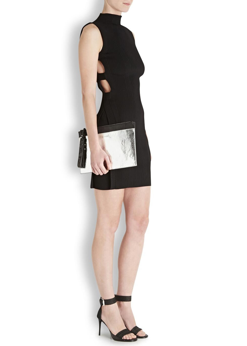 ALEXANDER MCQUEEN CUT OUT KNITTED MINI DRESS SMALL