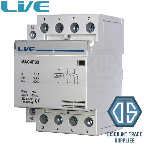 63 Amp 4 polos del Contactor ac 40 kW normalmente abierto montaje en carril DIN iluminación de calefacción