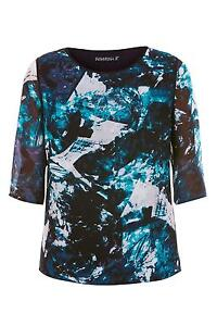 SUGARHILL-BOUTIQUE-LADIES-BLUE-TEAL-ICEY-PRINT-CHIFFON-TOP-SIZE-UK-16-BRAND-NEW