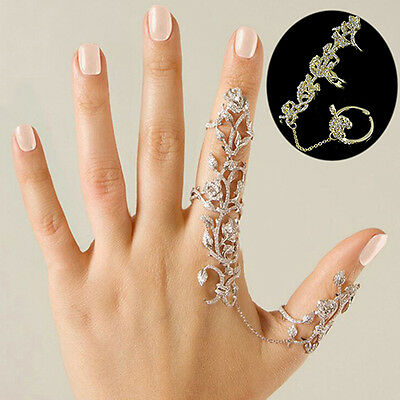 Attractive Vogue Multiple Rose Crystal Stack Knuckle Finger Ring Fashion Jewelry
