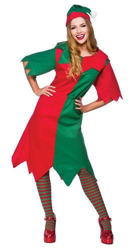 Elf Tights Ladies Fancy Dress Christmas Santas Helper Womens Adult Costume New