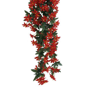 Artificial 5-branch Hanging Lily Flower Vine Garland Plant Home Decor Red