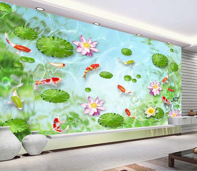 3D Lotus Leaf  Koi 86 Wall Paper Murals Wall Print Wall Wallpaper Mural AU Kyra