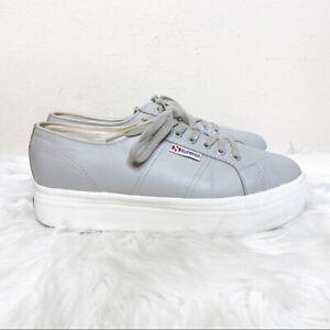 Superga Leather Platform Sneaker Gray