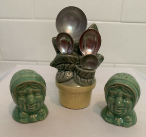 Antique-Vintage-McCoy-Pottery-Flower-Pot-Measuring-Spoon-amp-Old-Lady-Salt-Shakers