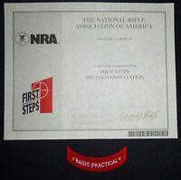 Nra Awards Certificate First Step Shotgun Orientation & Practical Rocker >new