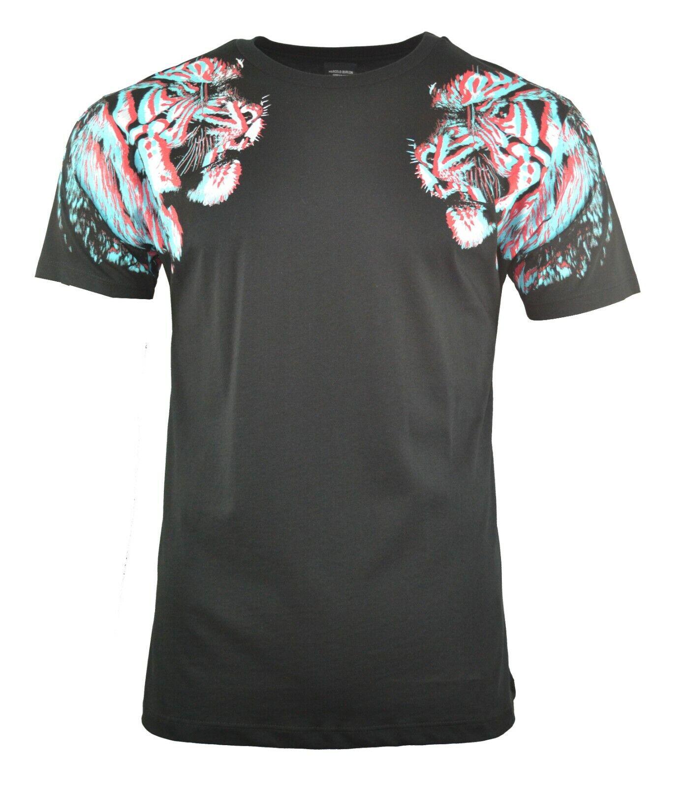 BNWT MARCELO BURLON Testa Di Leone Stampa T-shirt nera nera nera RARA a5322a