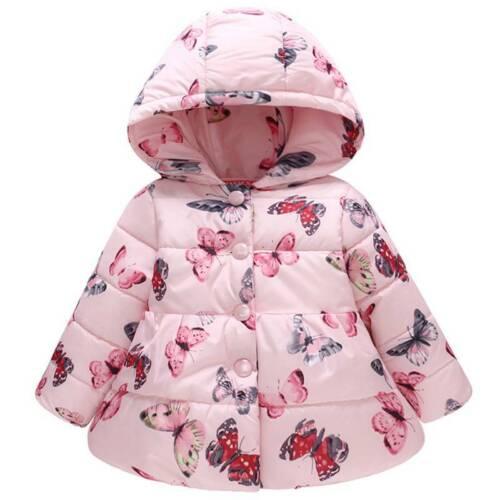 Winter Kids Girls Coat Parka Waterproof Warm Floral Jacket Hooded Outerwear UK