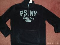 P.s. Aeropostale-- Size 12--- Black Pull Over Fleece Zip/kang Pocket