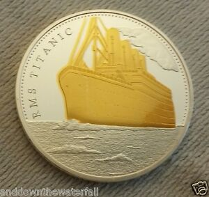 TITANIC Silver & Gold Coin Atlantic Ocean on Map to USA Old Sea Sailing Ship