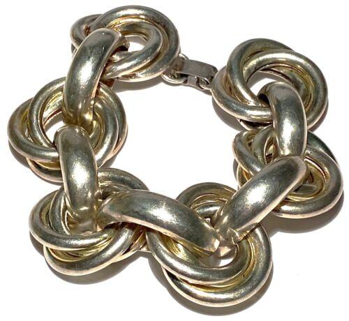 Signed Trifari Vintage Jewelry Curved Wavy Link Bracelet in Silver Tone Modernist Bracelet Wide Three Row Bracelet