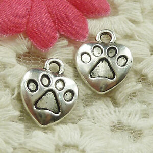 #4627 Free Ship 51 pcs Antique silver bears-paw heart charms 15x13mm