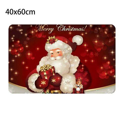 Christmas Print Doormat Xmas Kitchen Bathroom Anti-Slip Floor Mat Carpet Pad Rug