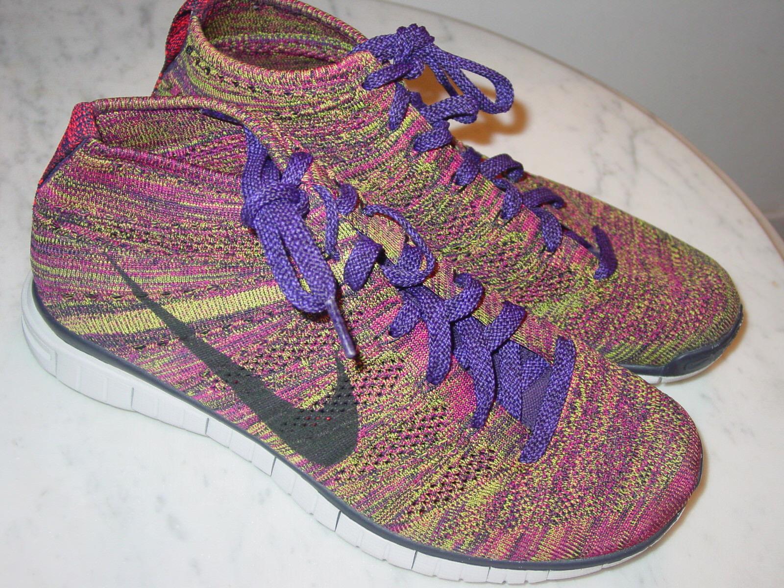 2014 Nike Free Flyknit Chukka Grand Purple/Black/Fireberry Shoes  Size 9.5