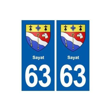 63 Sayat blason autocollant plaque stickers ville -  Angles : droits