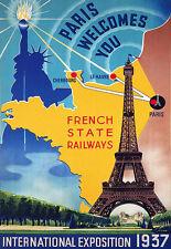 Art Ad  1937 Paris Worlds Fair Internationall Expo  Poster Print