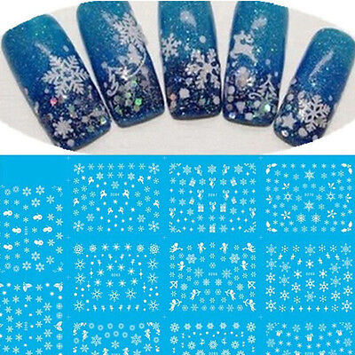 Xmas Snow Flake Angle Gift Christmas Nail Art Stickers Decals Water Transfer New