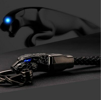 Men Keychains Rhinestones Car Key Ring Holder Metal Gift Elegant Black Panther