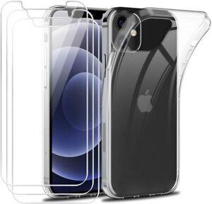 "Coque Iphone 12 / 12 Pro 6,1"" Silicone Transparent + 3 Protection Verre Trempé"