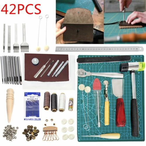 42pcs Tool Craft Carving Leather Stitching Adjustable Punch Sewing Thread Kit