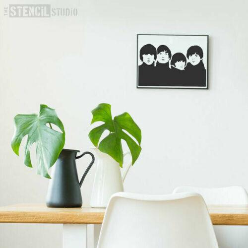 Plantilla de los Beatles-Plantilla De Pared Reutilizable-Pared Arte-hágalo usted mismo arte famoso caras 10016