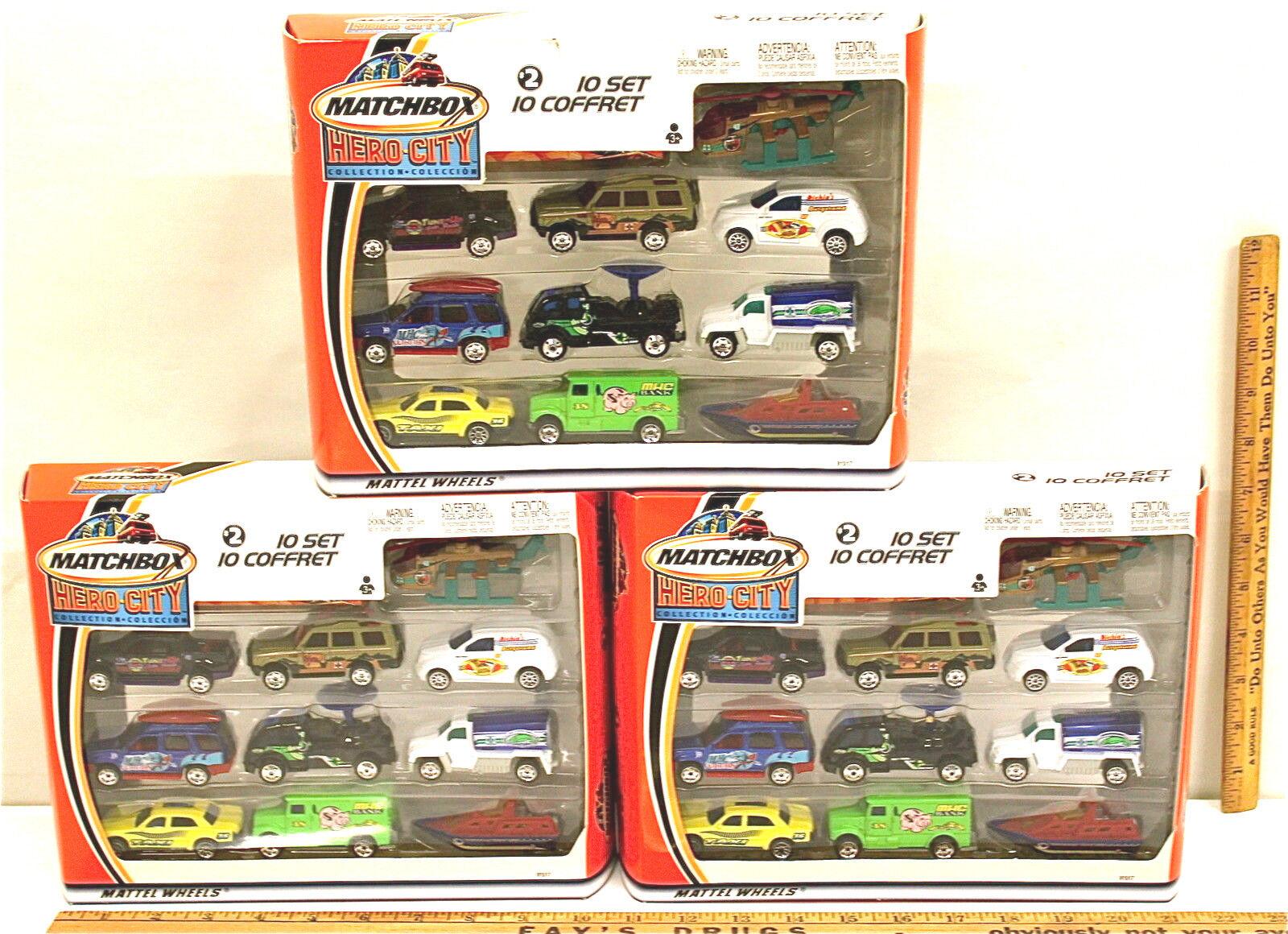 3 Sets 2002 Matchbox Hero City Collection Car Set Mattel 30 Piece Lot NIB