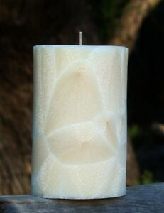 200hr WHITE NECTARINE Uplifting Scent Natural Pillar CANDLE HOUSE WARMING GIFTS