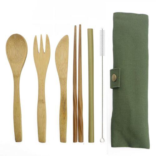 6-Pcs Bamboo Utensils Set Reusable Eco Friendly Portable Travel Cutlery Flatware