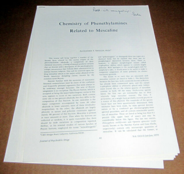 Signed SHULGIN to RALPH METZNER PHENETHYLAMINES MESCALINE PSYCHEDELIC PEYOTE lsd